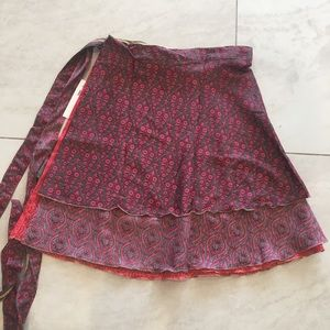 XL Mini Length Sari Wrap Skirt